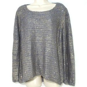 Chicos Sequin Sweater Women Size 3 XL 16 Gray Gold